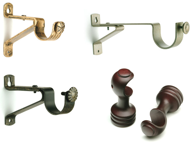 single curtain rod brackets