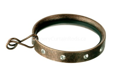 Dark copper flat curtain rod rings with crystals