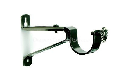 Black nickle single curtain rod brackets