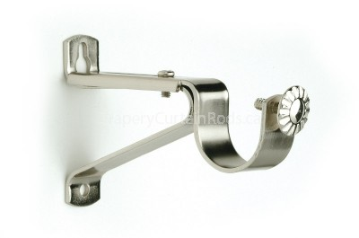 Nickle brushed single curtain rod brackets