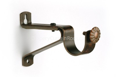 Walnut curtain rod single brackets