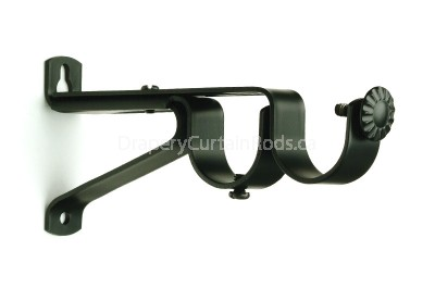 Black curtain rod double brackets