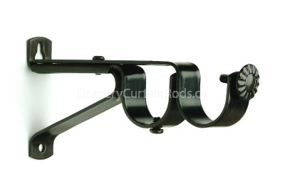 Rustic brown curtain rod double brackets