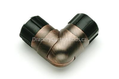 Dark copper curtain rod elbows