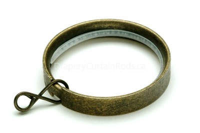 Antique brass flat curtain rod rings