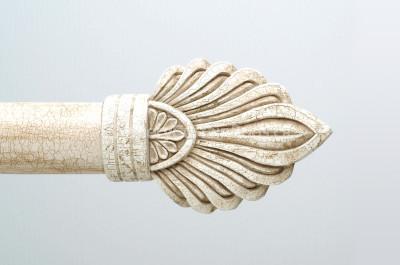 Ivory crackle wood finials
