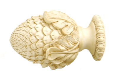 Antique cream decorative wood finials