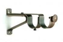 Dark copper double curtain rod brackets