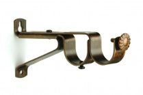 Walntut curtain rod double brackets