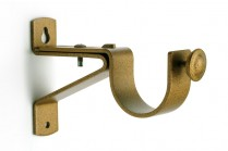 Green patina single curtain pole brackets