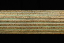Green patina 4ft long fluted wooden curtain rods