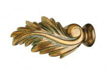 Green patina decorative wood finials