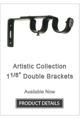 Iron Double Curtain Rod Brackets Artistic Collection
