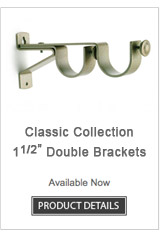 Iron Double Curtain Rod Brackets Classic Collection
